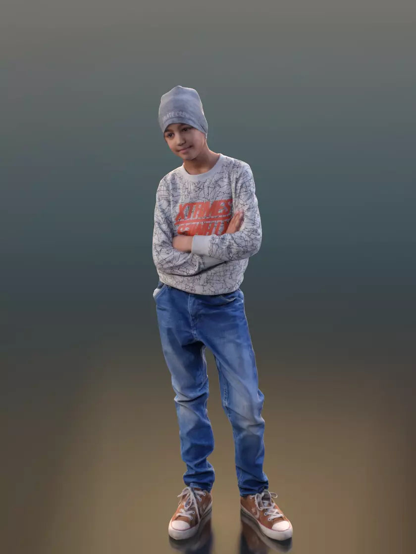 3DSKY FREE – HUMAN 3D – CHILD AND DOG – No.022